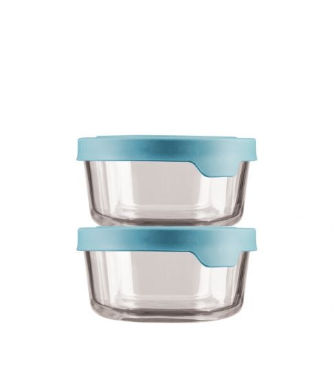 TrueSeal® Round Glass Food Storage with Mineral Blue Lids