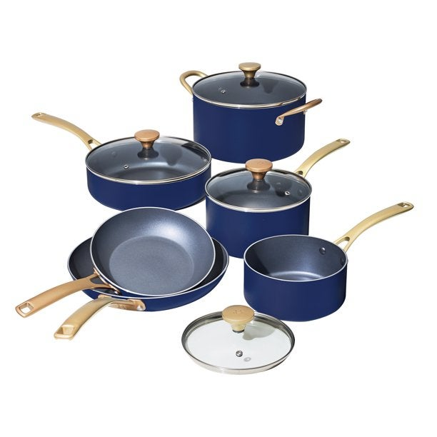 Beautiful 10 PC Cookware Set by Drew Barrymore