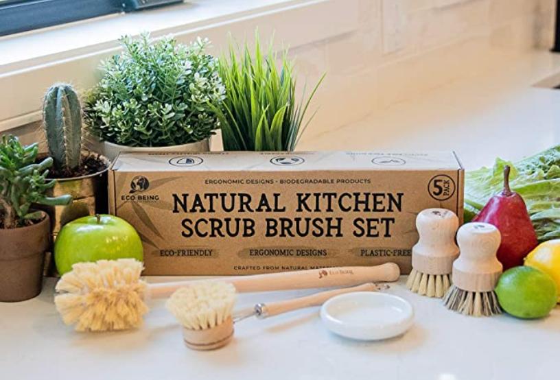 Natural Kitchen Scrub Brush Set