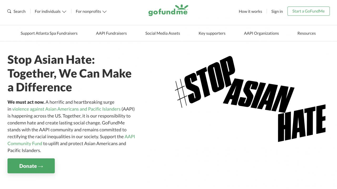 Stop Asian Hate gofundme