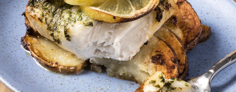 Roasted Cod With Lemon-Garlic Potatoes