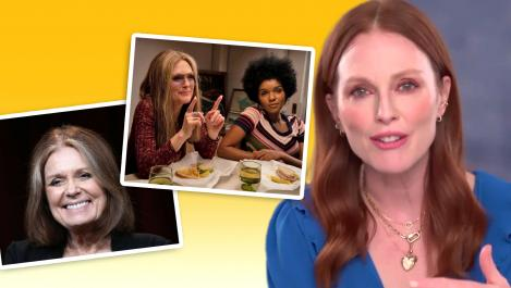 Julianne Moore and photo of Gloria Steinem