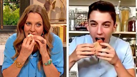Eitan Bernath and Drew eat