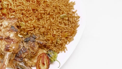 Chef Kwame Onwuachi. Jollof Rice with Jerk Shrimp and Marinated Gooseberries