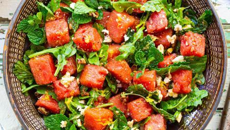 Watermelon Feta Arugula Salad
