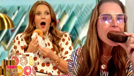 brooke shields and drew barrymore eat a donut