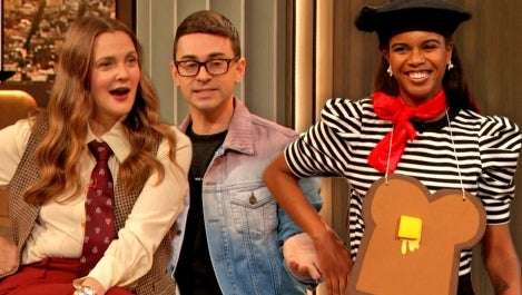 Drew and Christian Siriano and woman with French Toast costume