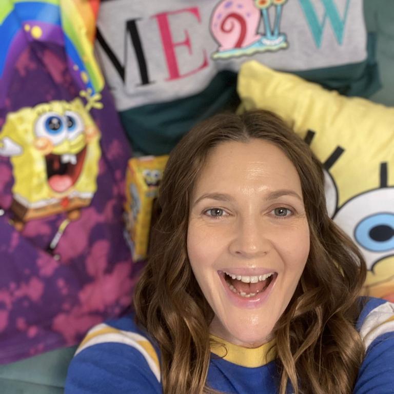Drew in front of SpongeBob clothes